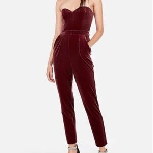NEW Express Velvet Sweetheart Strapless Jumpsuit